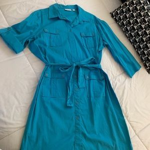 NY&Co shirt dress with tab rolled sleeves.